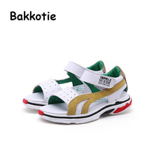 Bakkotie 2018 Summer New Baby Boy Fashion Beach Sandals Children White Pu  Leather Flats Toddler Girl Brand Soft Casual Shoes Kid 5d10b0611d89