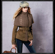 2017 Winter Women Jacket Sweater Patchwork Belt Jacket Coat Fashion coat