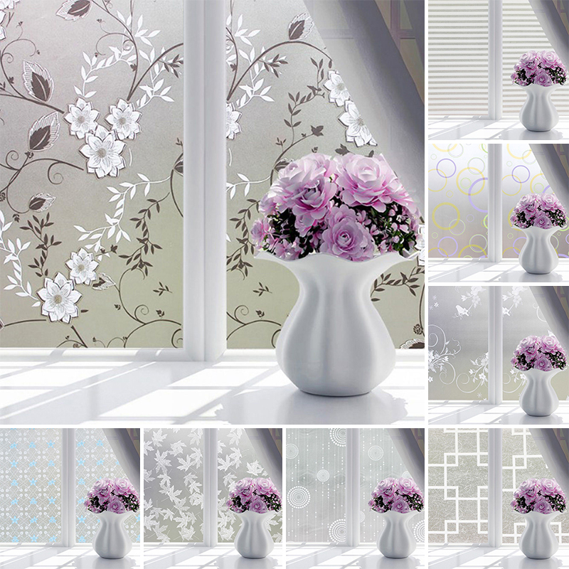 Waterproof Frosted Opaque Glass Window Film Cover Window Privacy Adhesive Glass Stickers For Bedroom Home Decor 9 styles