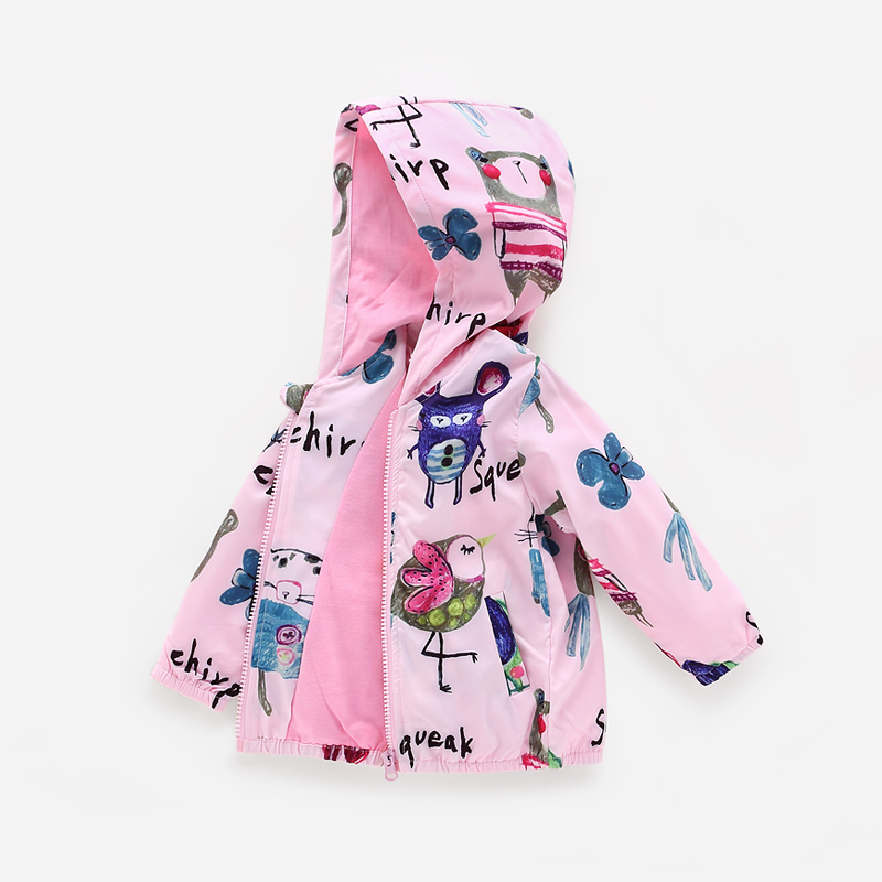 2018 new Spring Jacket Girls Kids Outerwear cartoon pattern Cute Windbreaker Coats Fashion Print Canvas Baby Children Clothing