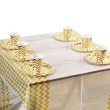 17 шт./лот одноразовая посуда наборы золото полосатые чашки тарелок стол для детский праздничный костюм наборы; детский душ украшение на свадьбу День рождения