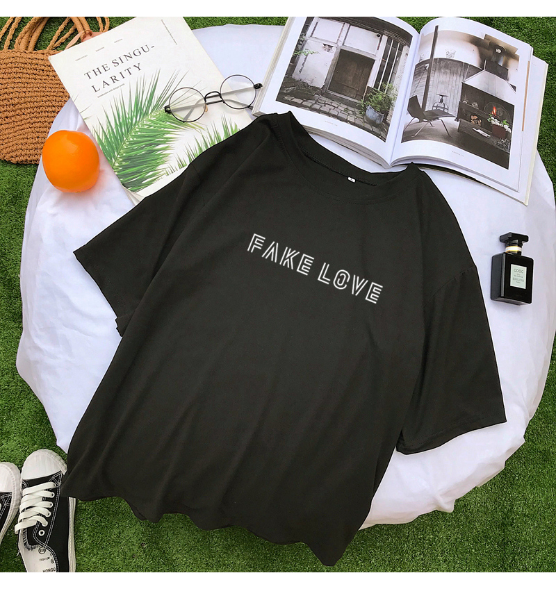 New Cotton Harajuku Letter Print Tshirt Women Summer Short Sleeve Tops & Tees Fashion Casual Korean Kpop FAKE LOVE Album T Shirt (6)