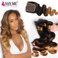 Cheap Brazilian Virgin Hair With Closure 8A Brazilian Body Wave With Closure 4 Bundles Blonde Ombre Brazilian Hair With Closure
