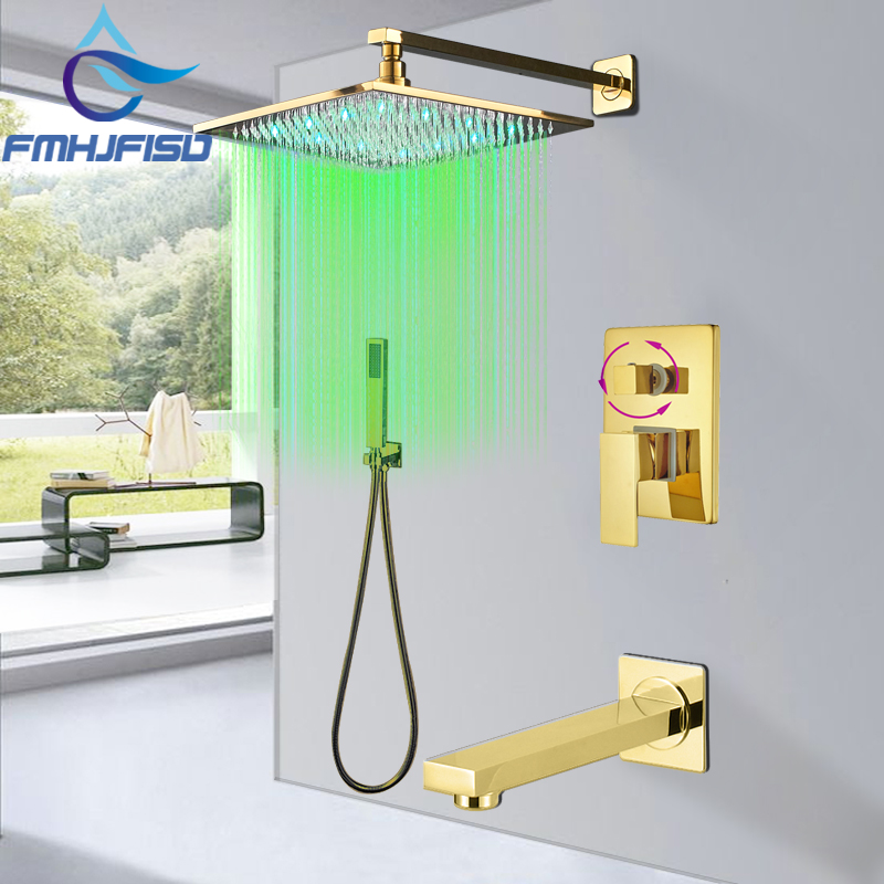 Concealed Golden Bath Shower Faucet Wall Mounted LED Bath Shower Faucets Gold Rainfall Shower Head Tub Spout Hand Shower Sets