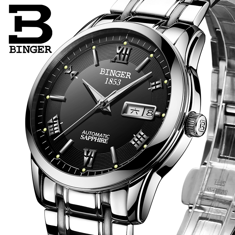 Switzerland men's watch luxury brand Wristwatches BINGER luminous Automatic self-wind full stainless steel Waterproof  B-107M-4 switzerland watches men luxury brand men s watches binger luminous automatic self wind full stainless steel waterproof b5036 10