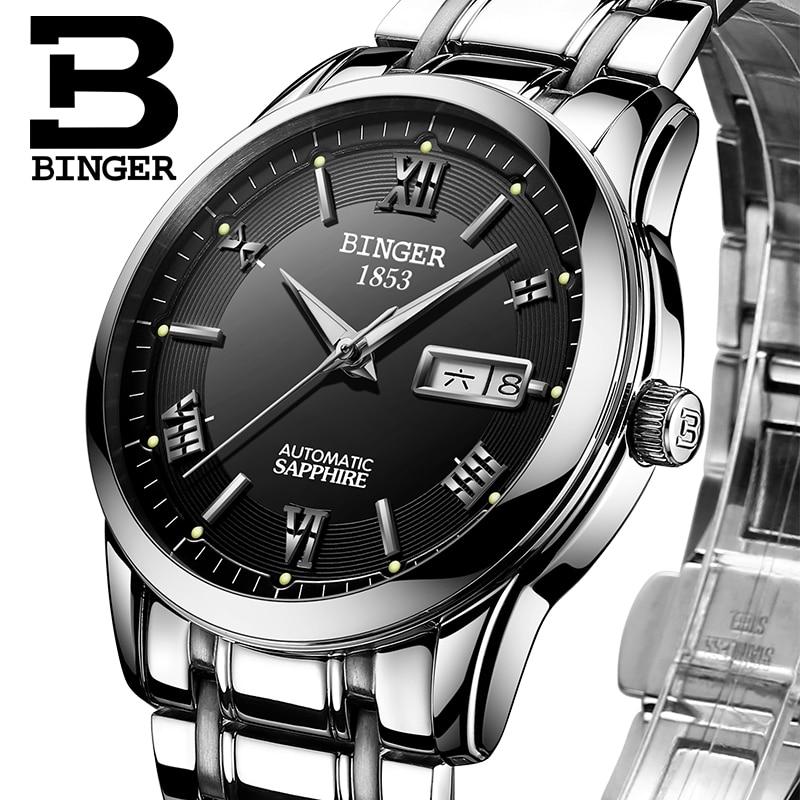ФОТО Switzerland watches men luxury brand Wristwatches BINGER luminous Automatic self-wind full stainless steel Waterproof  B-107M-4