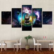 Canvas Prints Pictures Wall Art Living Room Framework 5 Piece OM Yoga Symbol Poster Buddha Buddhism Abstract Painting Home Decor(China)