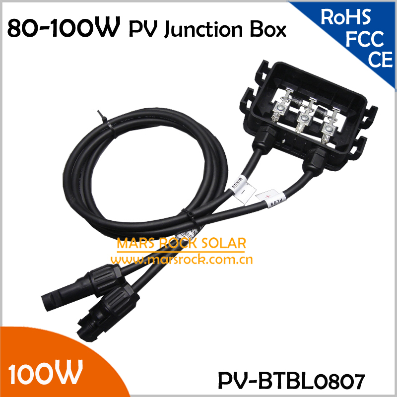 80-100W Junction Box Solar, IP65 Waterproof, Plastic Solar Connection Box,2 Diodes,MC4 Connector,90cm Cable,PV Junction Box 100W 4pcs a lot diy plastic enclosure for electronic handheld led junction box abs housing control box waterproof case 238 134 50mm