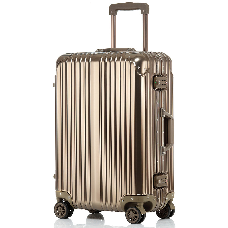 20' 24'' inch Aluminum Unisex Business Travel Airplane Luggage Spinner Wheels Suitcase Clothing Carry On Metal Rolling Trolley