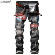 Newsosoo мужская мода знак патч отверстие рваные джинсы Тонкий прямой промывают джинсовые брюки сюрприз Вышивка джинсы hommes MJ87
