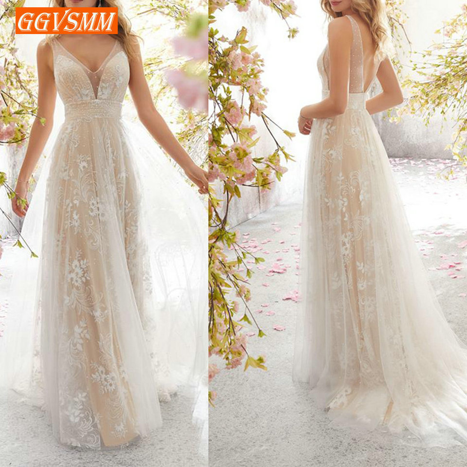Elegant Boho Lace Party Long Dress Evening 2019 Banquet Formal Dresses Women V-Neck Sleeveless Sexy Backless Maxi Evening Gown