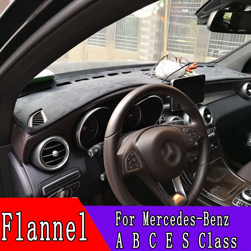 For <font><b>Mercedes</b></font>-Benz A <font><b>B</b></font> C E S Class 200 <font><b>180</b></font> 160 260 300 400 220 500l Flannel Dashmats Dashboard Covers Dash Pad Car Mat Carpet image