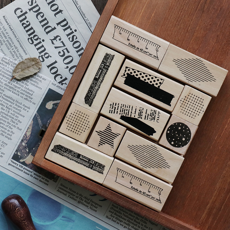 Hot Selling Hand Account Based Wooden Seal Retro Geometry Star Collage Album Decoration Rubber Stamps For Card Making Decoration