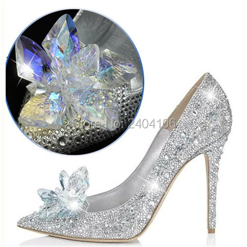 f9c791fe9 Bling Bling Crystal Silver Cinderella Shoes Princess Rhinestone High Heels  Bridal Wedding Shoes Woman Pointed Toe