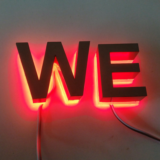 outdoor 3d led signs backlit brushed stainless steel letters in led