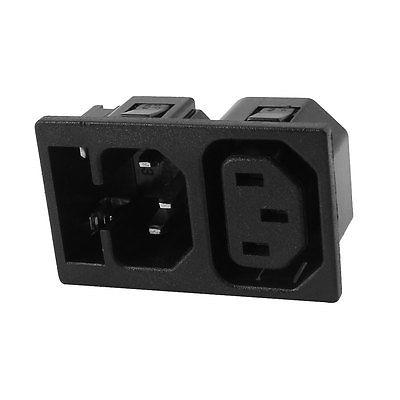 IEC C13 C14 5 x 20mm Fuse Holder Power Socket Adapter Plug AC 250V 10A/15A ac 250v 10a iec320 c14 electrical cooker plug adapter w fuse protector 2 pcs