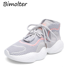 Bimolter 2019 INS Fashion EVA Rubber Sole Platform Sneakers Casual Shoes Celebrity Street Women Mesh Cow Suede Flats NB117