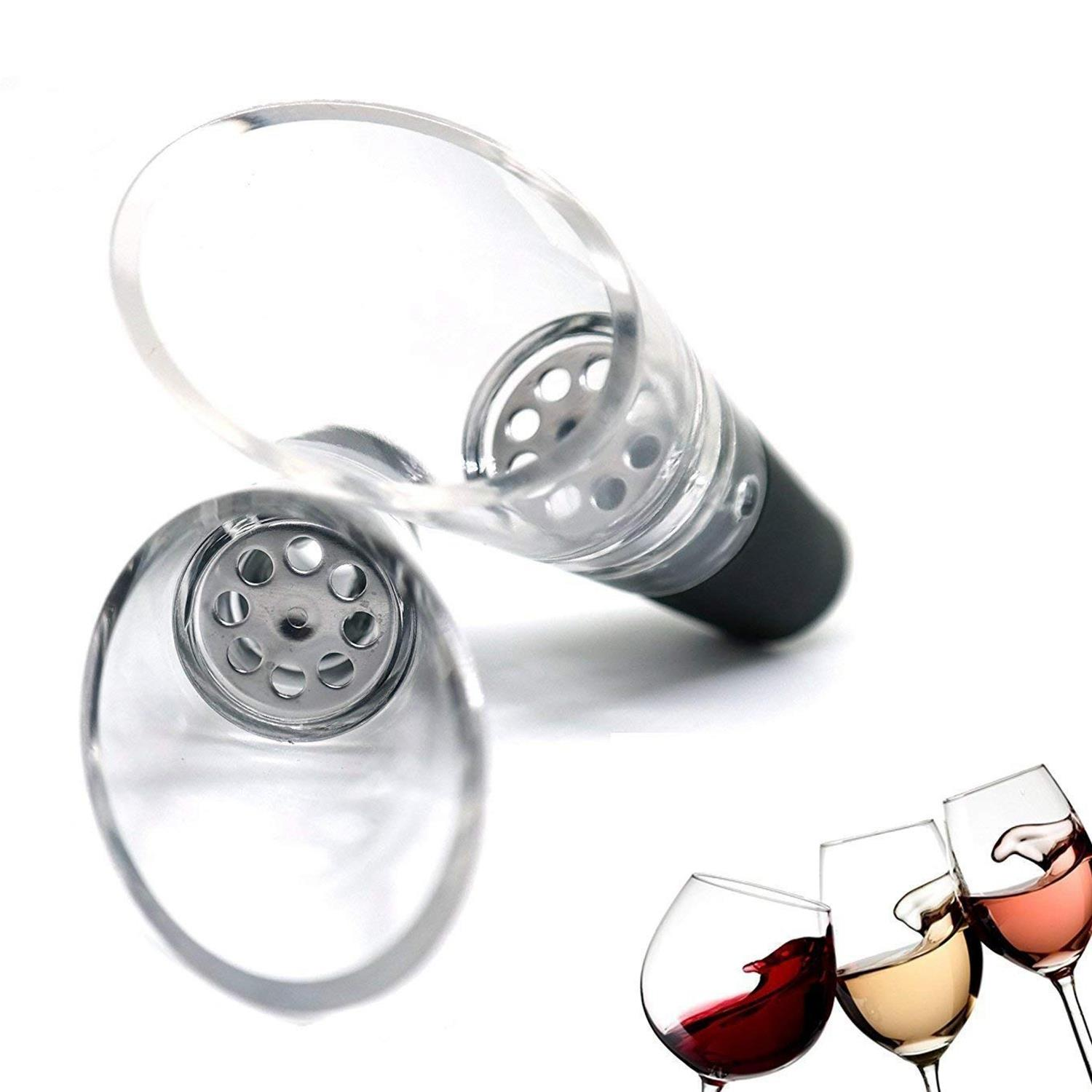 Vacuum Insulated Wine Saver Set with 4 -Vacuum Bottle Stoppers 1-Wine Aerator and 1-Bottle Opener 3