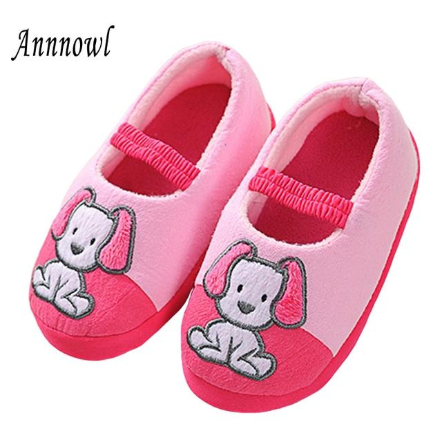 927811671521b الصغار النعال الشتاء الدافئة الأطفال الأحذية للفتيات طفل لطيف الكرتون جرو  ماري جين أحذية ملابس البيت