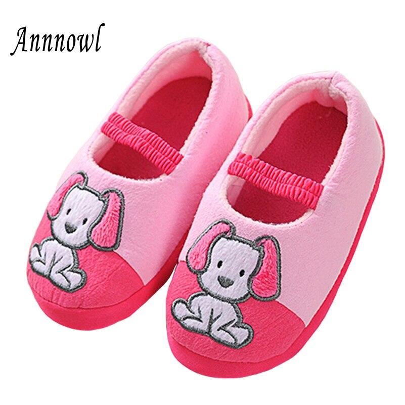 პატარა ბავშვების საცვლები ზამთრის თბილი ბავშვთა ფეხსაცმელი გოგონებისთვის Toddler Cute Cartoon Puppy Mary Jane Shoes სახლი აცვიათ შიდა ტუფლები