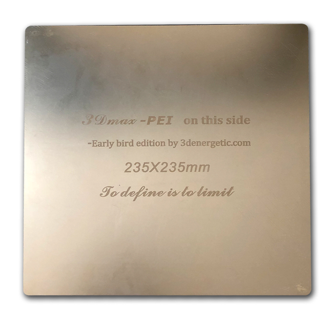 ENERGETIC 3D Print Bed Removable Spring Steel PEI Build Surface Flex Plate 235x235mm for Ender-3 3D Printer