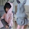 Nueva Chaqueta de Las Muchachas Animal Conejo Ropa de Los Niños Del Bebé Outwear Niños Encapuchados Abrigos Chaquetas Capa de La Muchacha Ropa de Niño de Algodón Del Bebé