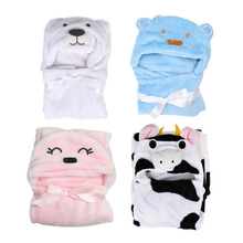 Baby Bath Towel Animal Shape Flannel Cartoon Hooded Bath Towel Babies Blanket Kids Hooded Bathrobe Toddler Baby Bath Towel