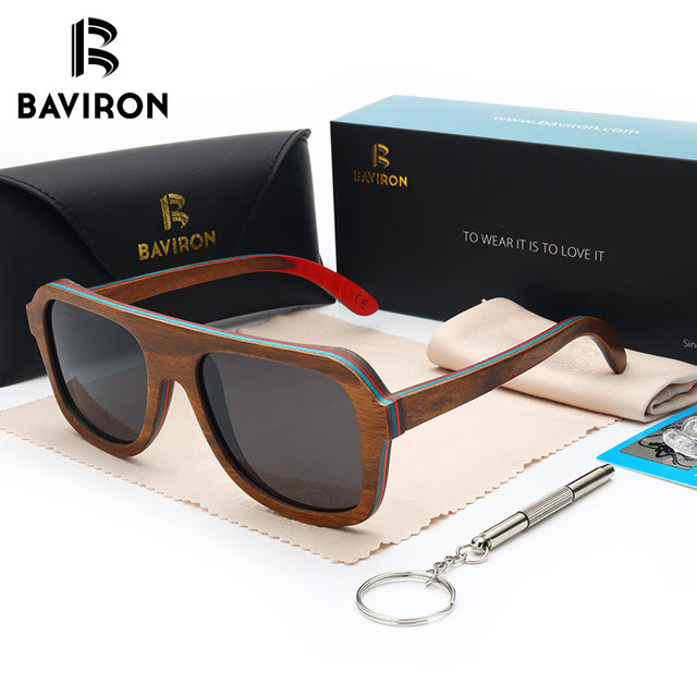 Woodsun baviron 100% real wooden sunglasses multilayer colorful frame unisex