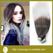 Free shipping ombre silver Tape hair extension cheap 6A grade Brazlian virgin ombre tape hair extension 100g/pack 2.5g/pc