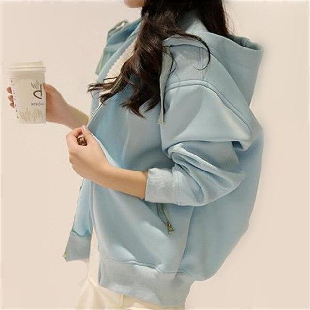 3 Цветов XS-XL 2016 Новый Корея Капюшоном Куртки Женщины Молнии Карманы Свободные Случайный Улица Весна Мотоцикл Пальто Плюс Размер ZS872