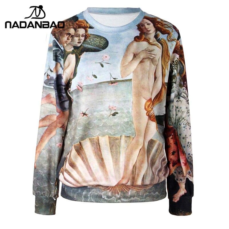 NADANBAO The Birth of Venus 2017 Fashion Full Sleeve Print Moleton Hoodies Sweatshirt Hoodie Women Sportswear