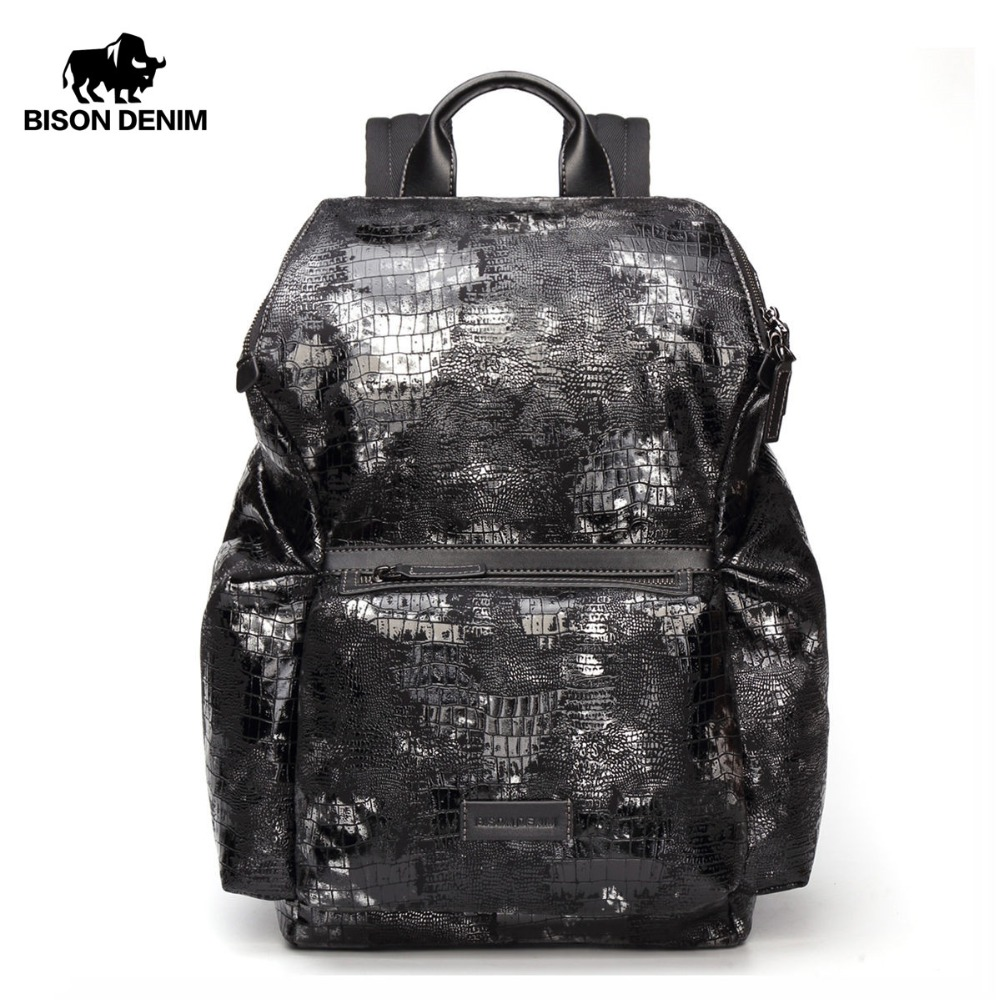 BISON DENIM Fashion 14 Laptop Backpack Male Mochila Anti-theft School Bag for Teenager Leisure Travel Backpack Waterproof N2575BISON DENIM Fashion 14 Laptop Backpack Male Mochila Anti-theft School Bag for Teenager Leisure Travel Backpack Waterproof N2575