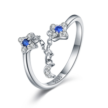 XiaoJing 100% 925 Sterling Silver Trendy Star Sparkling Crystal CZ Finger Rings for Women Wedding Engagement Jewelry Gift