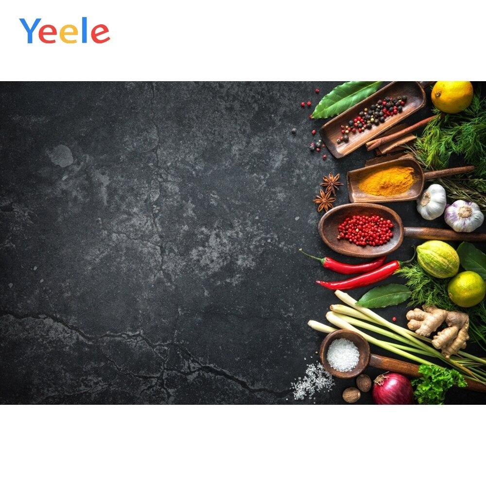 Yeele Dark Cement Wall Vegetables Fruit Seasoning Food Kitchen Photography Backgrounds Photographic Backdrops For Photo Studio