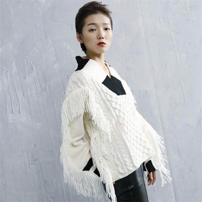 Uniquewho Automne Pulls Fashion Gland Chandails Hiver Lâche Femmes High Streetwear V Blanc Le Pour Cou Street Printemps Tricotés gZqgr4wSx