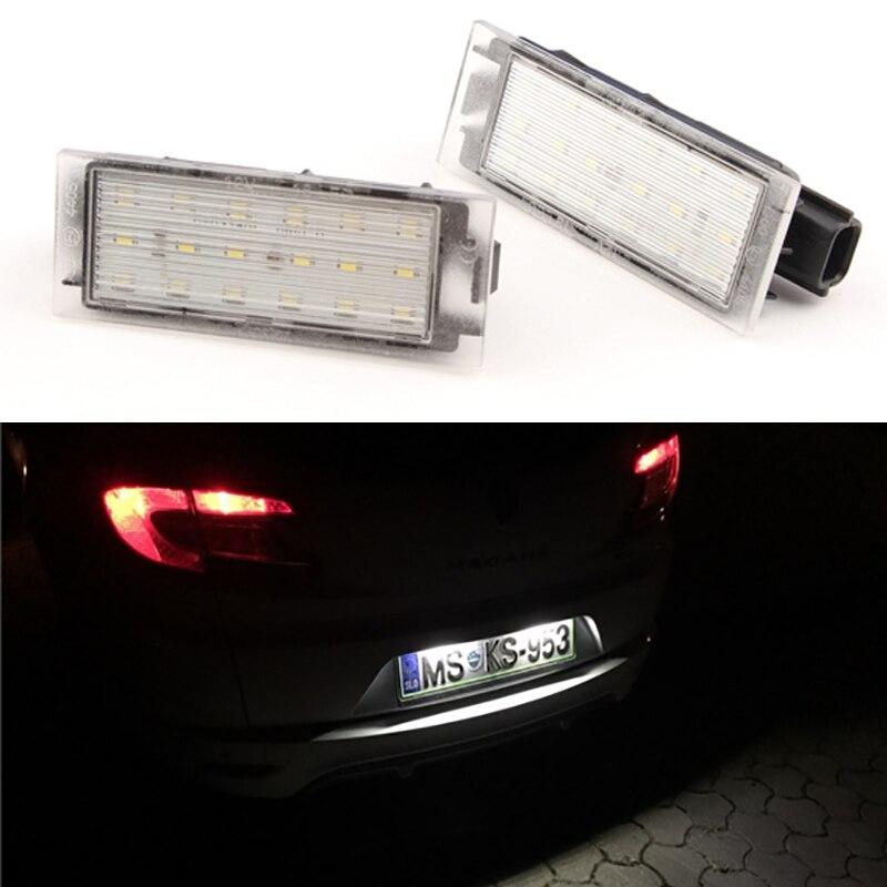2 stücke Auto LED Anzahl Nummernschild Licht SMD3528 Für Renault Megane 2...