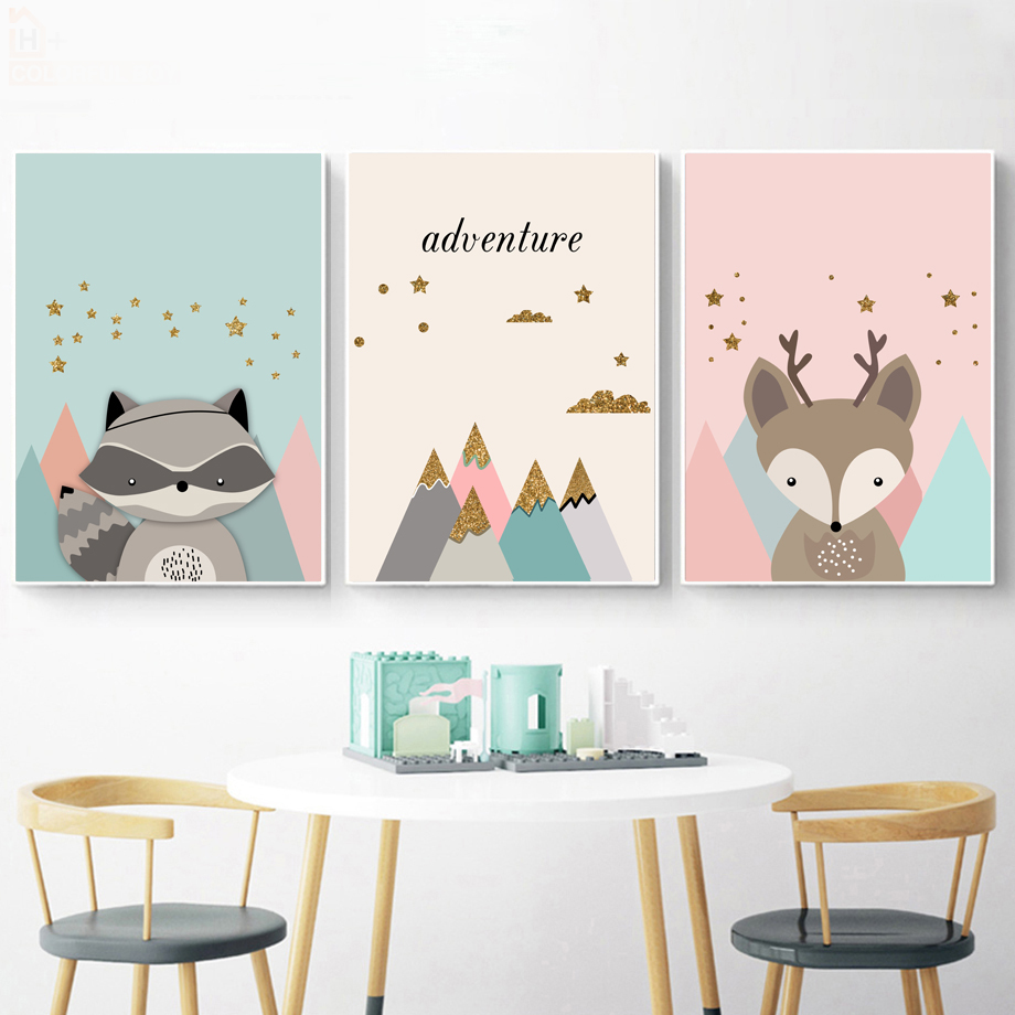 Cartoon Fox Raccoon Adventure Quote Wall Art Canvas Painting Nordic Posters And Prints Animal Wall Pictures Baby Kids Room Decor