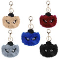 Black Leather Wallet Pom Pom Real fake Fur Fend Monster Doll Keychain Charm With Logo Golf Cart Bag Pendant Strap Mini  Chain