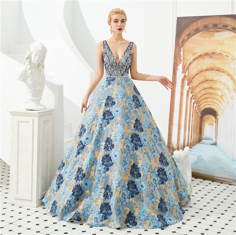 Elegant Ball gown   Prom     dresses   Embroidery evening   dress   Floral Print Floor length Girls pageant gowns Custom Made Vestidos