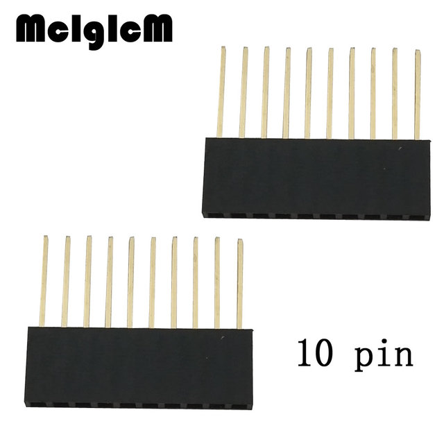 25pcs/lot 2.54mm 10Pin Header Female 10MM Long Needle Female Pin Header Strip Stackable Header