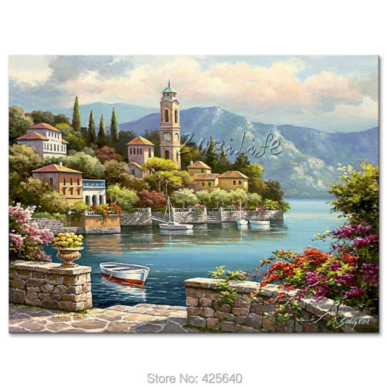 US $59.0 |Dipinti a mano Paesaggi Marini pittura per il salotto decora una  parete Mediterraneo immagini dipinte su tela art 05-in Pittura e ...