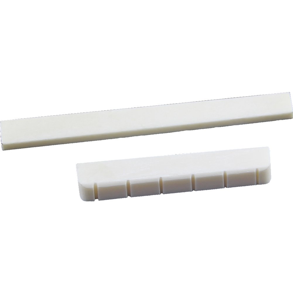 Music-S  White Guitar Parts 6 String Classical Guitar Bone Bridge Saddle And Nut Ivory Set