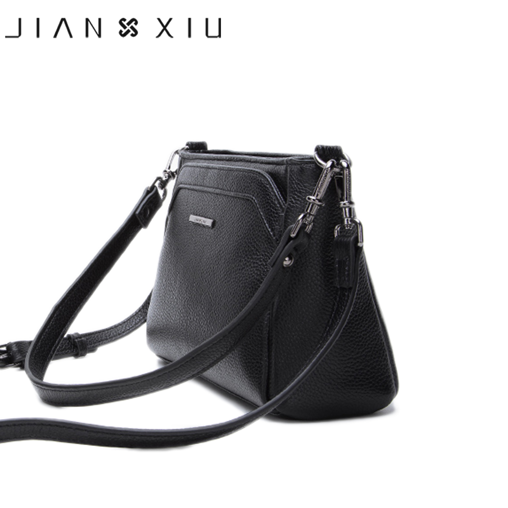 JIANXIU Brand Women Messenger Bags Female Shoulder Crossbody Genuine Leather Handbag 2019 Litchi Texture Small Tote Bag 2 Colors-in Shoulder Bags from Luggage & Bags    3