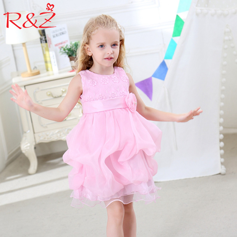 R&Z Baby Girls Dress 2017 Summer Cotton Lac Flower Blet Tutu Party Princess Wedding O-neck Dress for Girls Kids Clothing Clothes