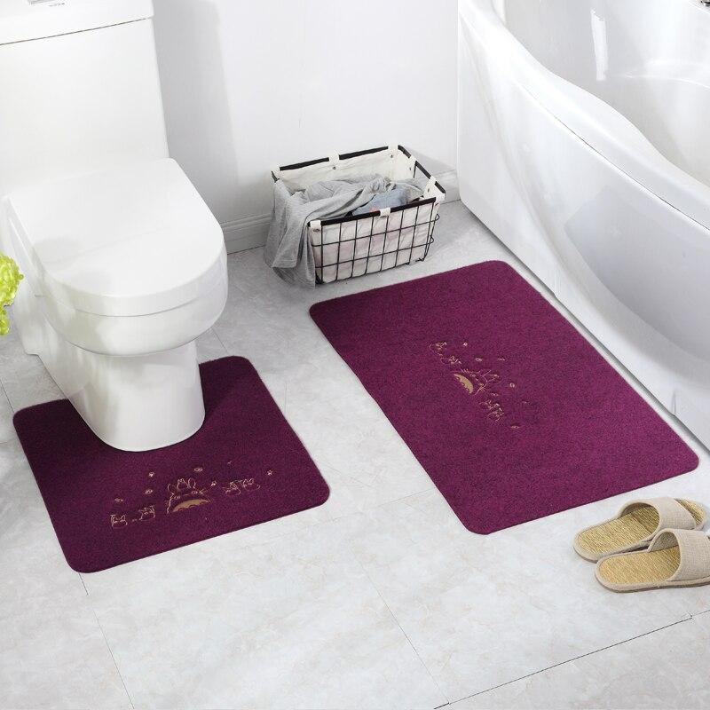 Tapis de bain élégant à impression de fleurs   2 pièces/ensemble bon marché, tapis en forme de U et carré, tapis de toilette, outil de salle de bain, livraison gratuite