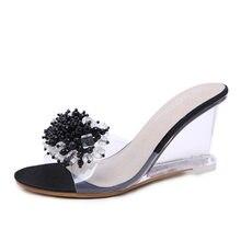 04e52c713 POADISFOO sandalias de cristal para mujer Sandalias de cuña verano 2018  Sexy cristal transparente tacones altos