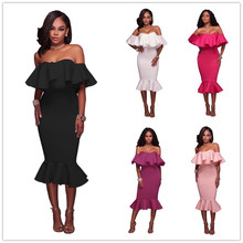 Summer Robe Party-Dresses Black Trumpet Bodycon Ruffles White Sexy Off-Shoulder Women