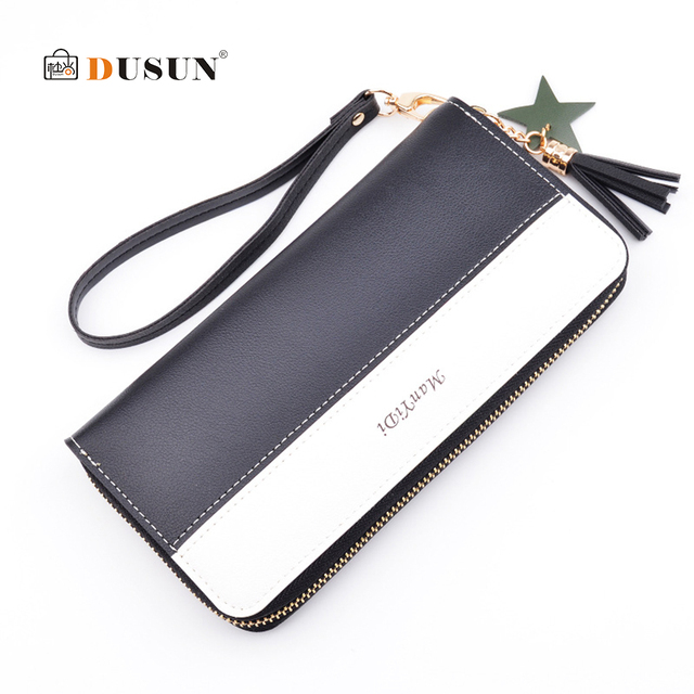 a9a7a53e5bc DUSUN Wristband Women 3 Fold Wallet Tassel Card Holder Female Zipper Phone  Cash Purse Style Leather Panelled Ladies Long Clutch