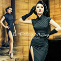 FREE SHIPPING Le Palais Vintage sexy retro dots elegant black jacquard repair sexy cheongsam slit height chi-pao dress