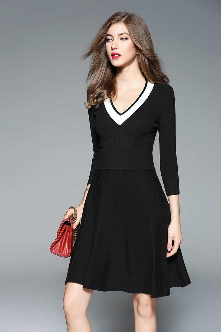 frauen v ausschnitt pullover kleid schwarz navy normcore